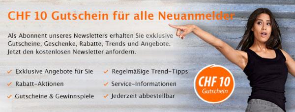 Cornelia CHF 10.- Gutschein für Newsletter Anmeldung