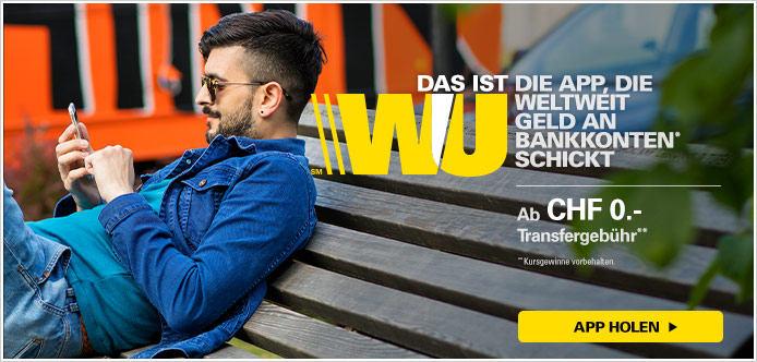 Transfergebühr ab  CHF 0.- mit Western Union