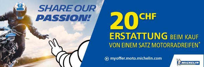 MotorradreifenDirekt: CHF 20.- Erstattung beim Kauf von einem Satz Motorradreifen!