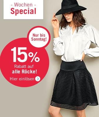 15% Rabatt auf alle Röcke bei heine
