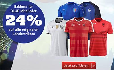 24% auf alle originalen Ländertrikots bei Ochsner Sport