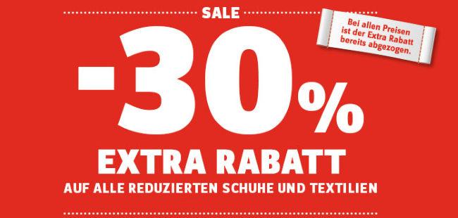 30% Extra-Rabatt auf alle reduzierten Schuhe und Textilien