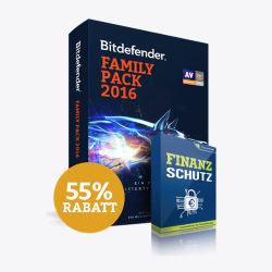 55% Rabatt auf Family Pack 2016 + Finanzschutz bei Bitdefender