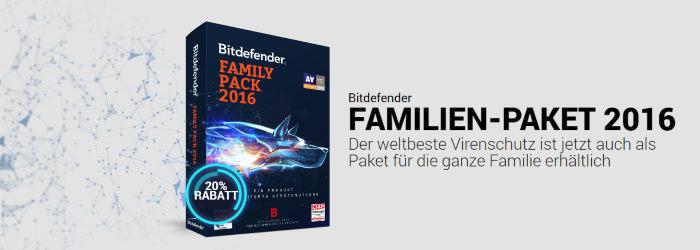 Bitdefender Familien-Paket 2016 mit 20% Rabatt