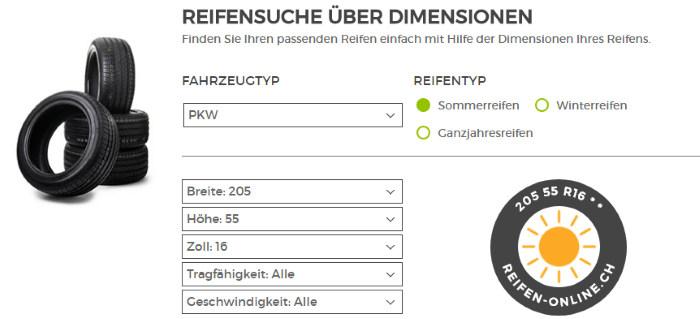 Reifensuche über Dimensionen bei reifen-online.ch