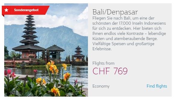 Qatar Airways Aktion - Bali ab CHF 769.-