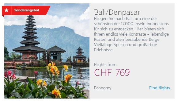 Qatar Airways Aktion - Bali ab CHF 769.-