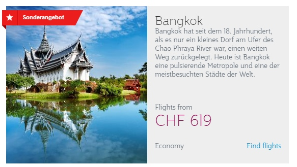 Qatar Airways Aktion - Bangkok ab CHF 619.-