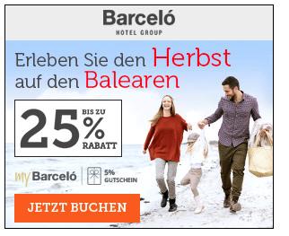 25% Rabatt bei Barcelo Hotels & Resorts