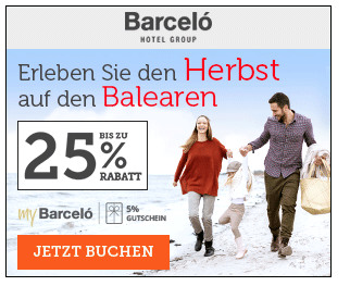 25% Rabatt bei Barcelo Hotels & Resorts