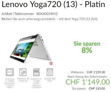 8% Rabatt bei Lenovo